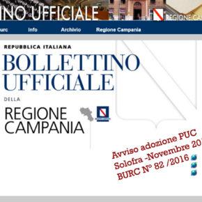 PUBBLICATO L'AVVISO DI ADOZIONE DEL PUC  SUL BURC DELLA REGIONE CAMPANIA